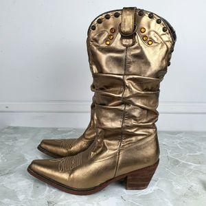 Steve Madden Boho Gold Metallic Cowgirl Boots